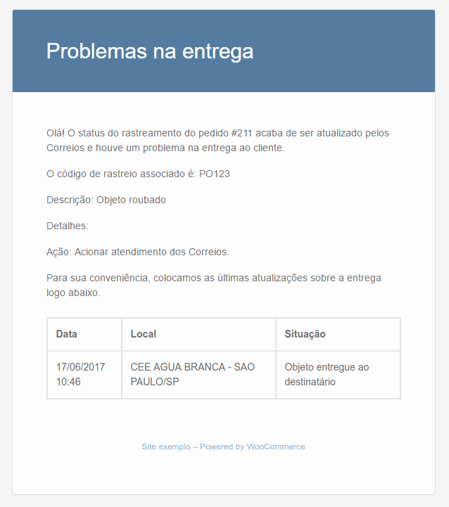 Exemplo de e-mail enviado ao administrador da loja quando ocorre alguma falha no envio