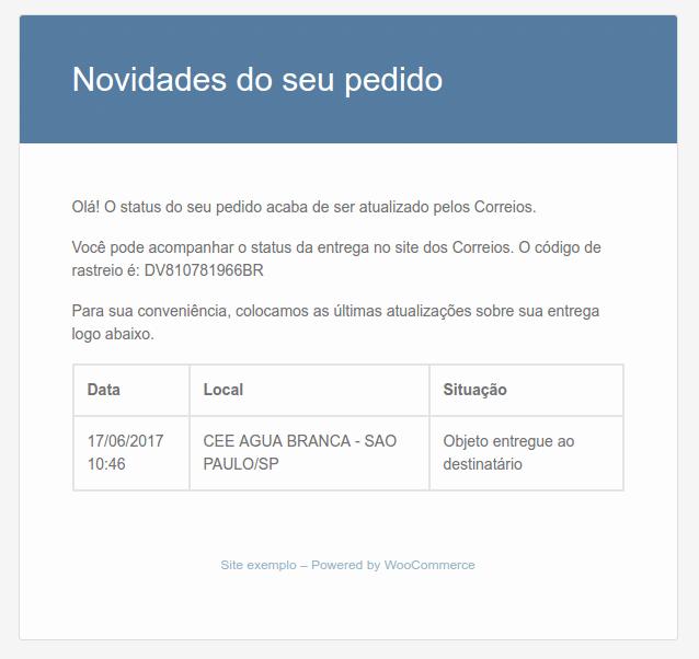 Exemplo de e-mail de notificação dos Correios